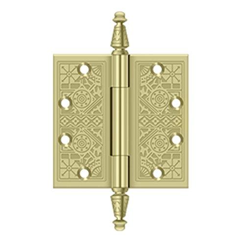 Deltana DSBP45U3-UNL Solid Brass Ornate 4 1/2-Inch x 4 1/2-Inch Square Corner Hinge