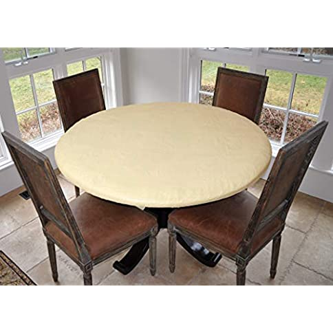 """covers for the home deluxe elastic edged flannel backed vinyl fitted table cover - basketweave (beige) pattern - large round - fits tables up to 45"""" - 56"""" diameter - 41AapSDosiL - Covers For The Home Deluxe Elastic Edged Flannel Backed Vinyl Fitted Table Cover – Basketweave (Beige) Pattern – Large Round – Fits Tables up to 45″ – 56″ Diameter"""