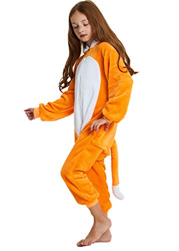 ABENCA Kids Fleece Onesie Pajamas Christmas Halloween Animal Cosplay Sleepwear Costume,Fox,120