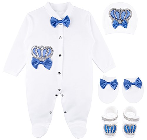 Lilax Baby Boy Jewels Crown Layette 4 Piece Gift Set 0-3 Months Royal Blue ()