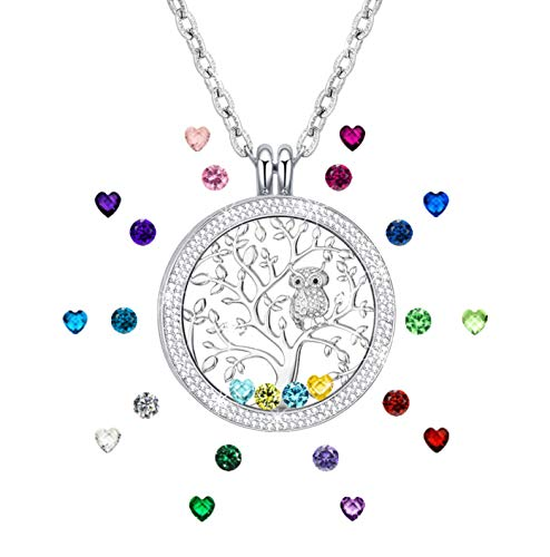 Necklace for Mom, Birthstone Necklace for Mothers Family Tree of Life Jewelry Created Birthstone Floating Charm Memory Locket Pendant Gifts for Grandmas Mom Birthday Gifts for Mother Silver Tone