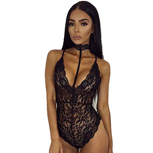 Yuelove Women Lace Backless Jumpsuit Swimsuit Bodysuit Hollow Out Clubwear Playsuit Sexy Sheer Mesh Streetwear Erotic Leotard Transparent Slim Pajamas Lingerie Babydoll Underwear (S, Sexy - Uk Top Luxury Brands