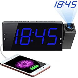 Projection Alarm Clock, 7 Large Digital LED Display & Dimmer, USB Charger, Adjustable Ringer, 12/24 H, DST, Battery Backup Dual Alarm Clock for Bedrooms Ceiling Wall Home Kitchen Desk, Kids Elders