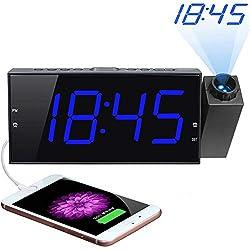"""Projection Alarm Clock, 7"""" Large Digital LED Display & Dimmer, USB Charger, Adjustable Ringer, 12/24 H, DST, Battery Backup Dual Alarm Clock for Bedrooms Ceiling Wall Home Kitchen Desk, Kids Elders"""