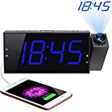 Projection Alarm Clock, 7' Large Digital LED Display & Dimmer, USB Charger, Adjustable Ringer, 12/24 H, DST, Battery Backup Dual Alarm Clock for Bedrooms Ceiling Wall Home Kitchen Desk, Kids Elders