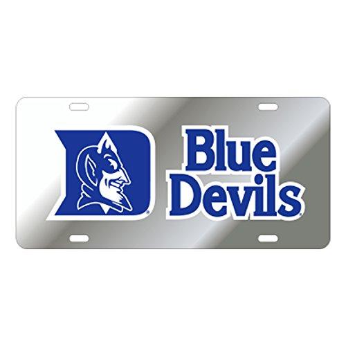 Duke Blue Devils Reflective Silver Car Tag (Duke Blue Devils License Plate)