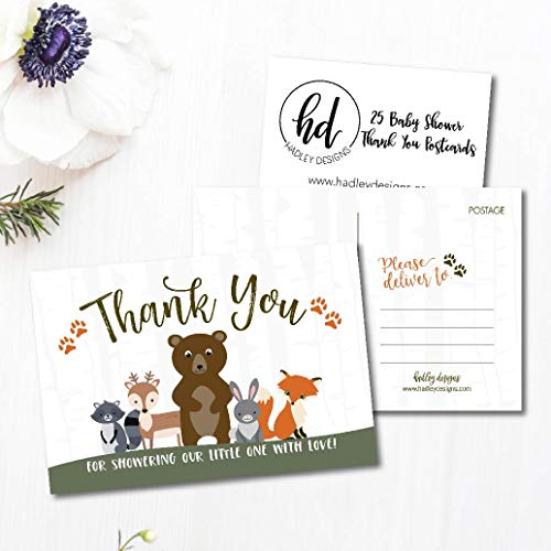 25 Girl or Boy Woodland Baby Shower Thank You Note Card Bulk Set, Blank Cute Animals Gender Reveal Neutral Sprinkle Postcards, No Envelope Needed For Party Gift, Personalize Printable Cardstock Photo #2