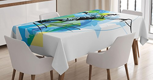 """Ambesonne Sports Tablecloth, Man Athlete Water Skiing Energic Exotic Motivational Hobby Activity Image, Dining Room Kitchen Rectangular Table Cover, 60"""" X 84"""", Black Blue"""