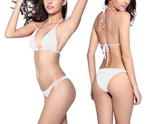 Shangrui Mujer Traje de Baño de la Serie Simplemente Color Sólido Vendaje Eslinga Bikini(FZSW0580) Blanco