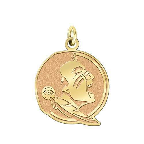 College Jewelry Florida State Seminoles Solid 14K Yellow Gold Natural Finish Cut Out Logo Charm (3/4