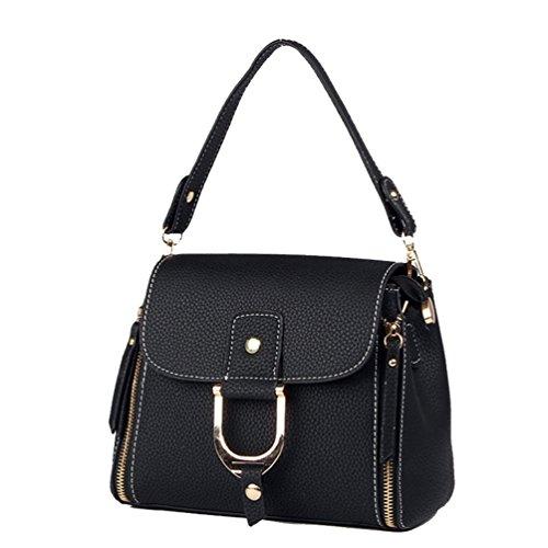 Mode Multi Lock Fonction Épaule Main Femme Bag Noir Boucle Imperméable Sac ZhiYuanAN Messenger Durable Simple À qwTvExSx