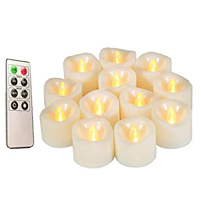 Flameless Candles, Realistic Flickering Votive Candle Tea Light Battery Operated, 200 Hours of Nonstop Working with Remote and 4/8 Hours Timer, Set of 12 LED Candle by Erosway