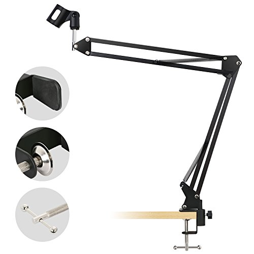 Price comparison product image TONOR Adjustable Scissor Arm Microphone Stand Made of Steel for Recording Broadcasting Studio with Table Mounting Clamp Computer Mics,  Length of 18.11 in