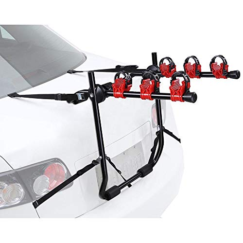 Yescom 3 Bike Bicycle Carrier Car Truck SUV Foldable Trunk Mount Rear Rack w/Straps from Yescom