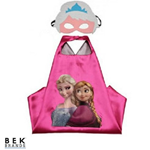 Bek Brands Frozen's Elsa and Anna Superhero Cape and Mask Set | Dress up Satin Cape and Felt Mask, Costume for Kids Party for $<!--$7.97-->