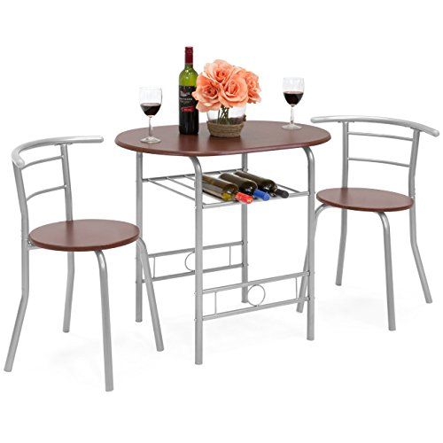 Best Choice Products 3-Piece Wooden Kitchen Dining Room Round Table and Chair Set with Built-in Wine Rack, Espresso