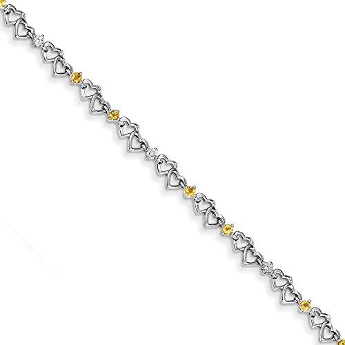 Bracelet Argent 925/1000Diamant et Citrine