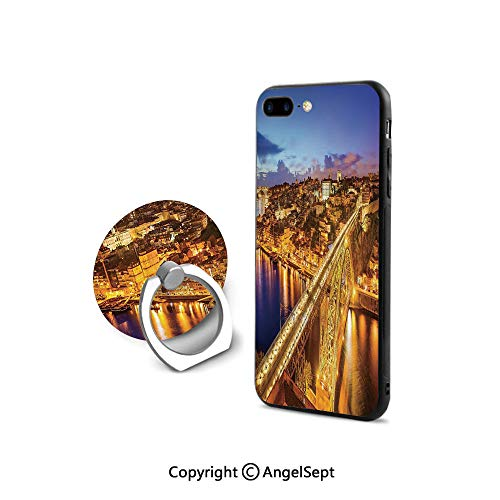 iPhone 7/8 Case with 360°Degree Swivel Ring,Porto Dom Luis Bridge at Night River Portuguese Coast Mediterranean View Decorative,Retail Packaging,Apricot Violet Blue