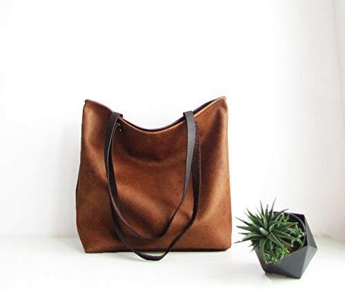 26ab5f8e70 Amazon.com  Vegan leather tote bag Top handle bag Handbag Cognac brown  Rustic Distressed Carry-all bag  Handmade