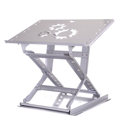 TriGear Premier 81 Adjustable Height & Angle Options Laptop Desk Stand w/ Over 100LBS Capacity - Silver