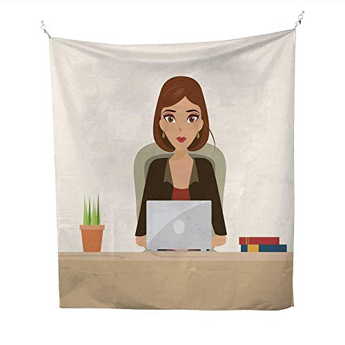 60 Smoking Tablets (25 Home Decor Tapestries Beautiful Brunette Business Woman Using a Touch pad Tablet dope Tapestries 60W x 91L INCH)