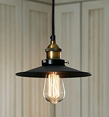 LightLady Studio - Pendant Light Vintage - Mini Black Pendant Light - Industrial Pendant Lighting - Vintage Barn Hanging Lamp - Fits with Modern, Industrial, Rustic or Farmhouse Decor