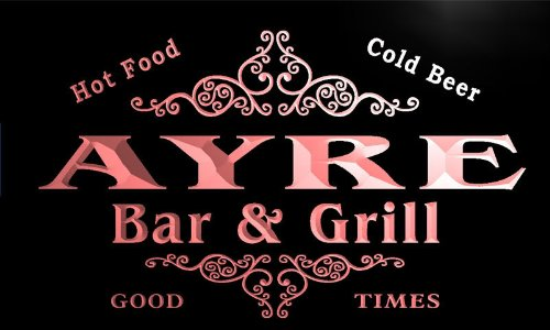 u01753-r AYRE Family Name Bar & Grill Cold Beer Neon Light Sign