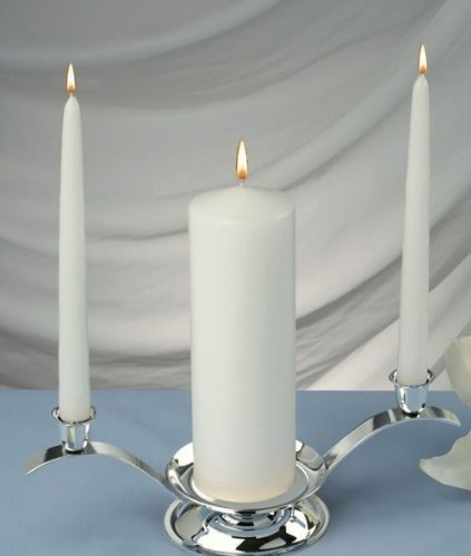 (Elegant Unity White Candle Set of 3, 1 Pillar 6 Inch Tall and 2 Taper Candles 10 Inch Tall (Holders Is Not Included) MADE IN USA)