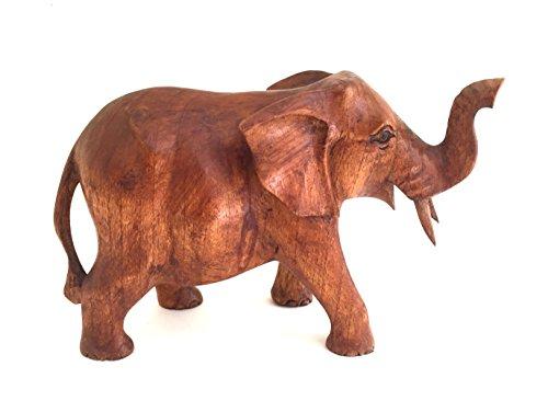 Wood Carved Trunk - OMA Elephant Statue SOLID WOOD Hand Carved Lucky Trunk Up Elephant Figurine Home Decor (Medium)