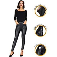 MCEDAR Women's Faux Leather Leggings with Pockets Plus Size Girls High Waisted Sexy Skinny Pants for Causal, Club, Night Out