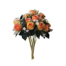 Artificial Multi-Coloured Rose Silk Flowers Bounquet Mixed Arrangement, Home Hotel Room Wedding Decoration(5 Head Orange Rose,Pack of 3)