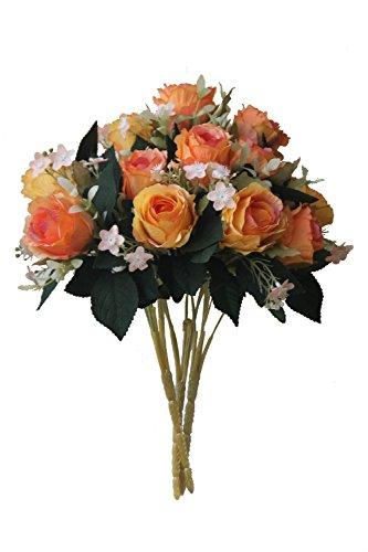 「ノーブランド品」多色バラ混ぜ合わせの造花 ホテル、 結婚式 パーティー お祝い (オレンジ色バラ5本*3) B00WHTONPK オレンジ色バラ5本*3