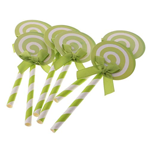24pcs Balloon Swirl Lollipop Cupcake Cake Topper with Bows for Wedding Shower |Color - Green|