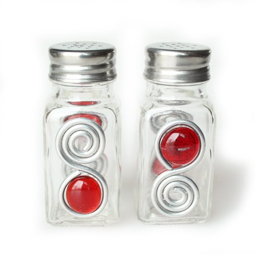 (Jewelry By Andrea Red Bead Embellished Salt & Pepper Shakers)
