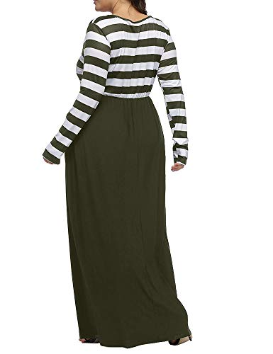 b6efc0909d4 Long Patchwork Army Green Size Striped Dress Neck Dresses Round Maxi Women s  Plus Sleeve Long Casual Allegrace 6qI7xaUn