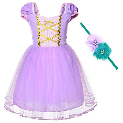 Princess Rapunzel Costume For Toddler Baby Girls Birthday Party Dress Up With Headband (4T -