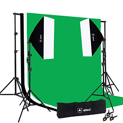 Upland Softbox Lighting Kit for Photo, Photography Video Studio, 2 Softbox (20x28 Inches), Backdrop Support Stand (6.6x10 Feet), 3 Backdrops (5x10 Feet)
