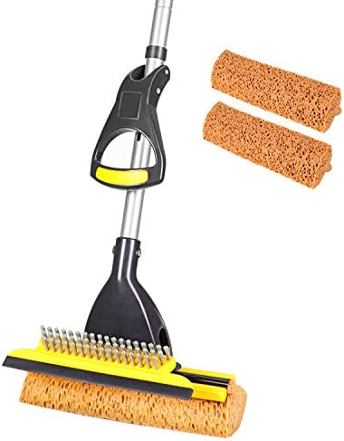 Yocada Sponge Mop Home Commercial Use Tile Floor Bathroom Garage CleaningTotal 2 Sponge Heads Squeegee and Extendable Telescopic Long Handle 42.5-52 Inches Easily Dry Wringing
