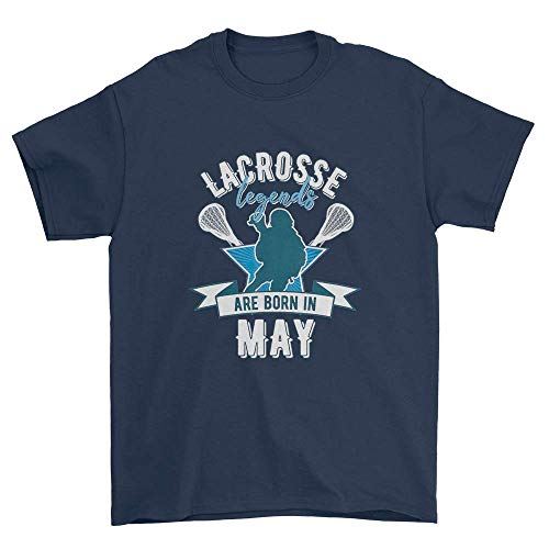 Lacrosse Legends are Born in May T-Shirt Lax Sticks Shirt Navy ()