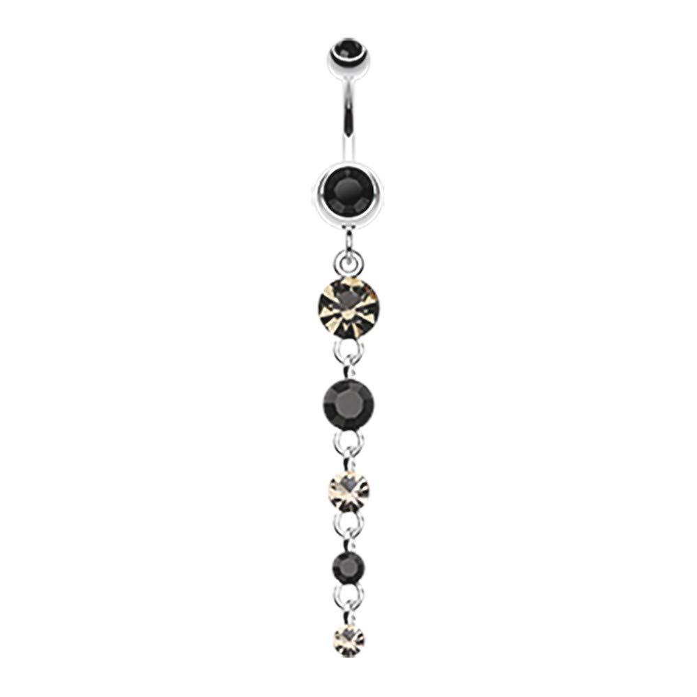 14 GA Crystalline Droplets Fall Dangle Belly Button Ring Davana Enterprises