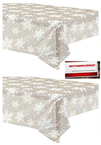 2 Pack Clear Winter Christmas Snowflake Plastic Tablecloth