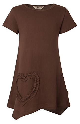 Ipuang Girls' Heart Shaped Casual Cotton Dress Brown