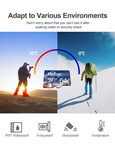 Netac 64GB Micro SD Card, microSDXC UHS-I Memory Card with Adapter - 100MB/s, 667X, U3, C10, Full HD Video V30, A1, FAT32, High Speed Memory TF Card P500 for Smartphone/Bluetooth Speaker/PC/Camera/VR