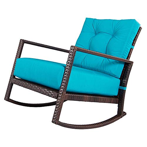 SUNCROWN Outdoor Furniture Teal Patio Rocking Chair | All-Weather Wicker Seat with Thick, Washable Cushions | Backyard, Pool, Porch | Smooth Gliding Rocker with Improved Stability