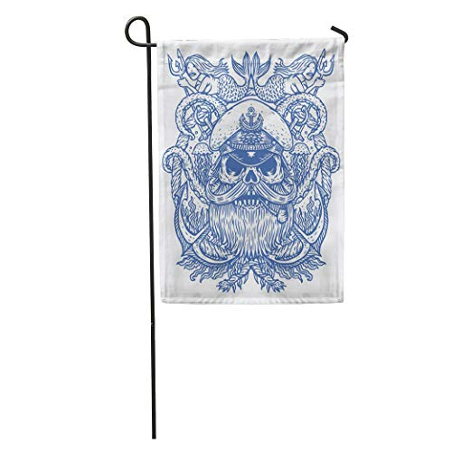 Semtomn Garden Flag Captain Skull in Hat Beard and Pipe Tentacles of Octopus Home Yard House Decor Barnner Outdoor Stand 12x18 Inches Flag -
