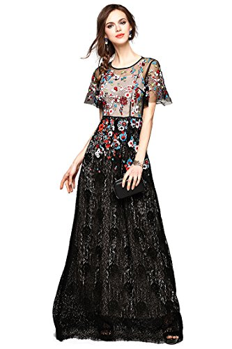 [Joy EnvyLand Women Maxi Evening Gown Prom Party Long Cocktail Embroidered Dress, Black, Small] (Floral Long Skirt Evening Gown)