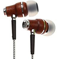 Symphonized NRG 2.0 Premium Genuine Wood In-ear Noise-isolating Headphones|Earbuds|Earphones with Innovative Shield Technology Cable and Mic (Silver)