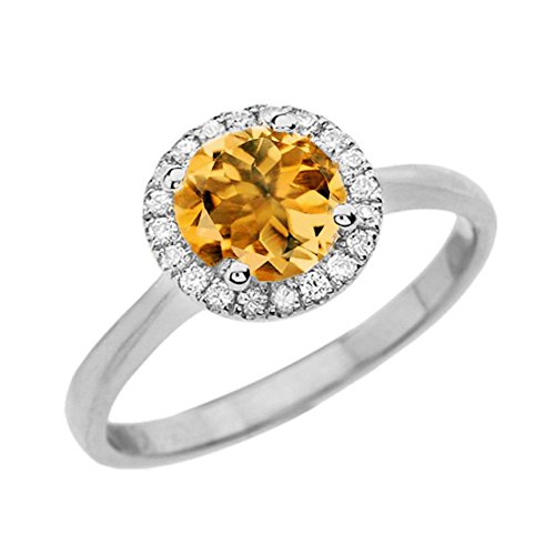 Fine 14k White Gold Diamond with Citrine Halo Engagement/Proposal Ring (Size 7)
