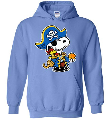 Pirate Funny Hoodie Snoopy and Woodstock Carolina Blue ()
