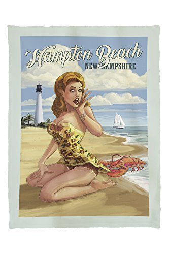 Hampton Beach, New Hampshire - Woman on Beach with Lobster - Pinup Girl (60x80 Poly Fleece Thick Plush Blanket)